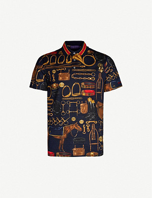 RALPH LAUREN PURPLE LABEL Graphic-print cotton-pique polo shirt