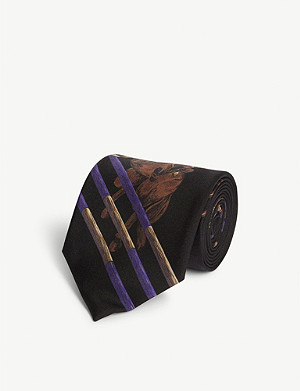 RALPH LAUREN PURPLE LABEL Equestrian Print silk tie
