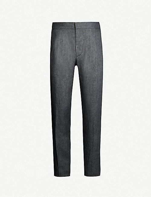 e820f6de RALPH LAUREN PURPLE LABEL Drawtring-waist slim-fit straight linen trousers