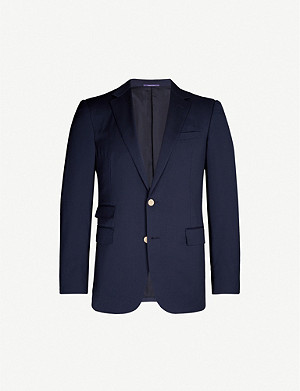 RALPH LAUREN PURPLE LABEL Brand-embossed regular-fit wool blazer