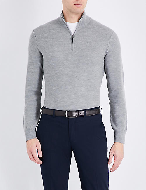 RALPH LAUREN PURPLE LABEL: Half-zip wool and cashmere-blend jumper
