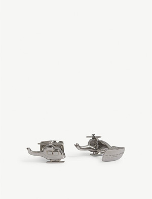 DEAKIN AND FRANCIS Rhodium helicopter cufflinks