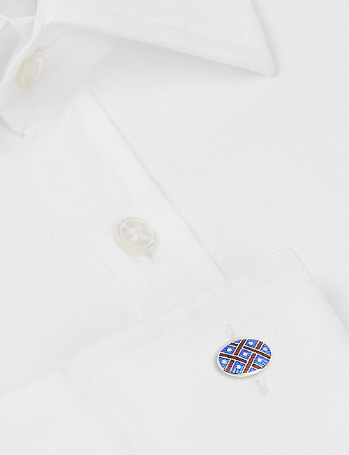 DEAKIN AND FRANCIS Patterned sterling silver and enamel cufflinks
