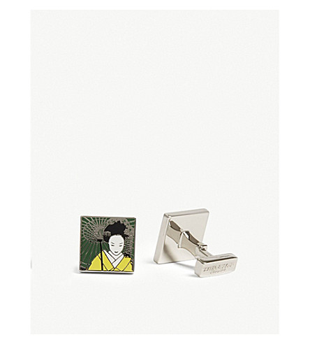 TYLER & TYLER Geisha Square Cufflinks in Green/Yellow