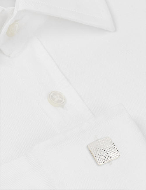 LANVIN Square rhodium-plated textured cufflinks