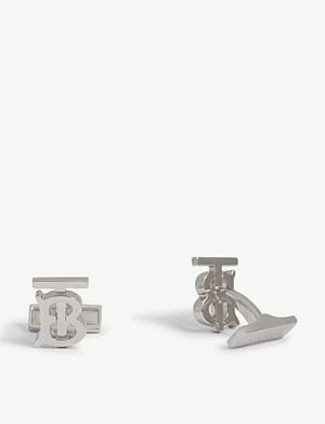 BURBERRY Monogram palladium-plated brass cufflinks