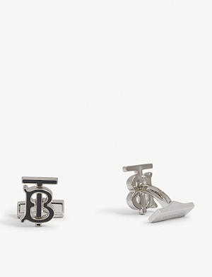 BURBERRY Monogram enamel and palladium-plated cufflinks