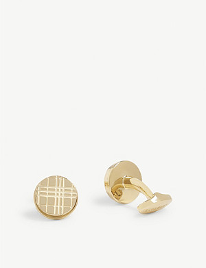 BURBERRY Check-engraved cufflinks
