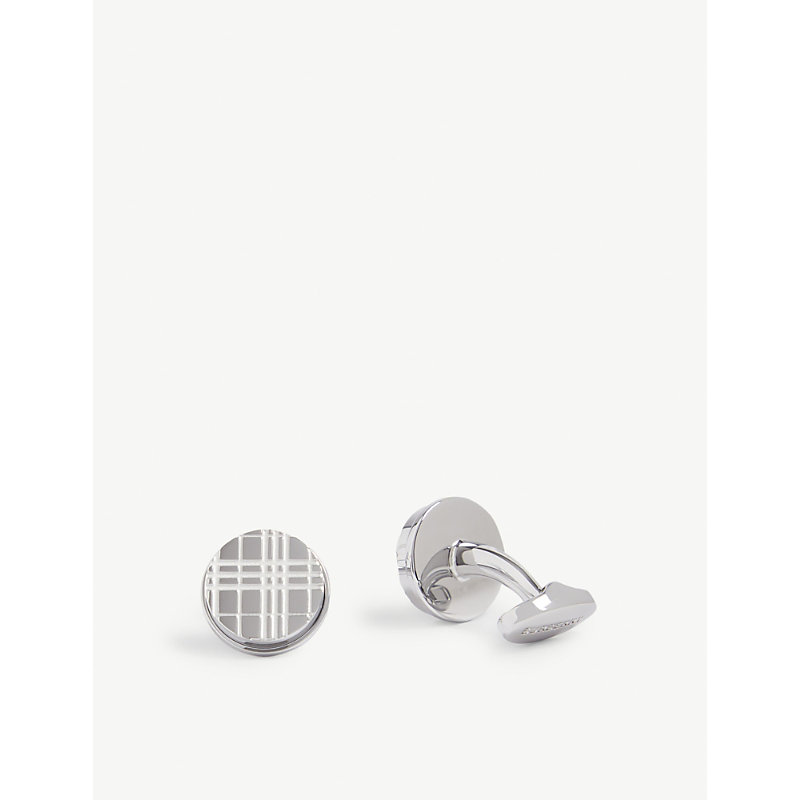 BURBERRY | Check-Engraved Cufflinks | Goxip