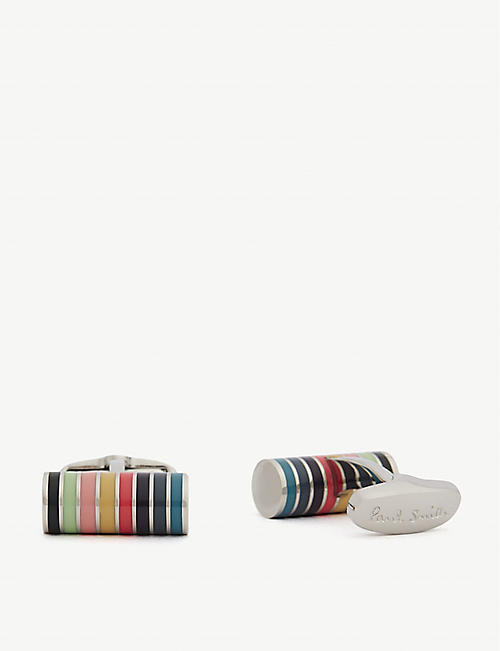 PAUL SMITH Striped cylinder cufflinks