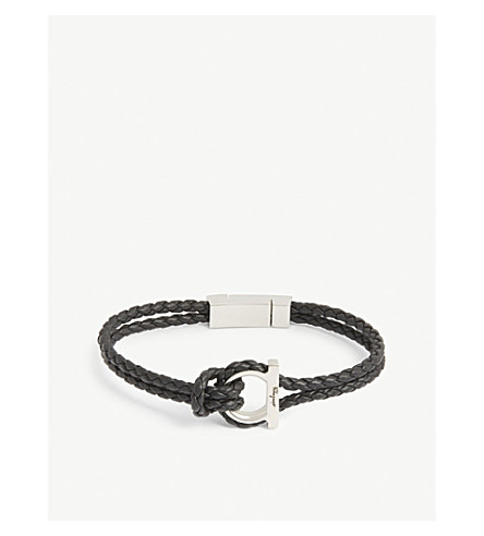 Salvatore Ferragamo Accessories GANCINI WOVEN LEATHER BRACELET