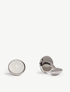 TATEOSSIAN Rotondo Guilloché Mother of Pearl round cufflinks