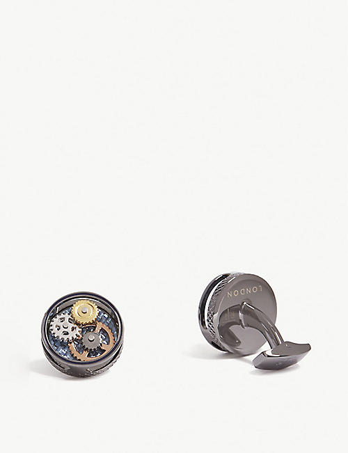 TATEOSSIAN: Round gear carbon fibre cufflinks