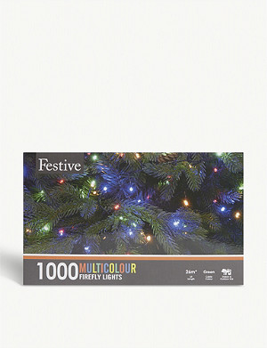 FESTIVE 1000 multicolour Christmas firefly lights