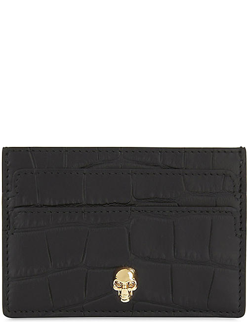 ALEXANDER MCQUEEN Skull croc-embossed leather card holder 2cbb105735b0d