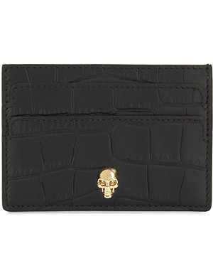 ALEXANDER MCQUEEN Skull croc-embossed leather card holder