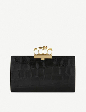 ALEXANDER MCQUEEN Knuckleduster crocodile-embossed leather clutch