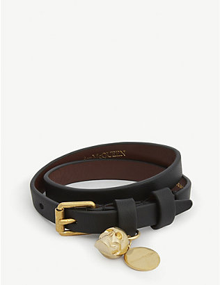 ALEXANDER MCQUEEN: Skull double-wrap leather bracelet