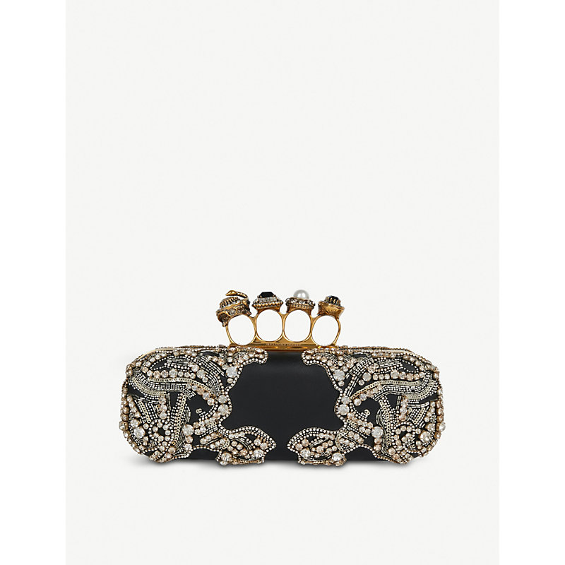 1d709a8e6cb9 Alexander Mcqueen Black Swarovski Crystals And Satin Knuckle Clutch Bag