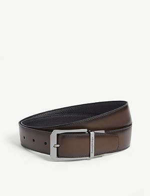 ERMENEGILDO ZEGNA Reversible pebbled leather belt