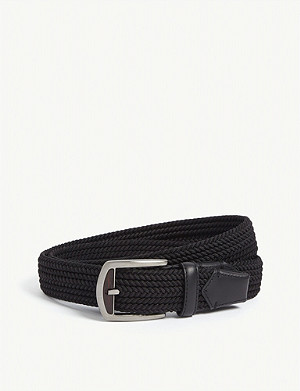 ERMENEGILDO ZEGNA Leather-trimmed woven belt