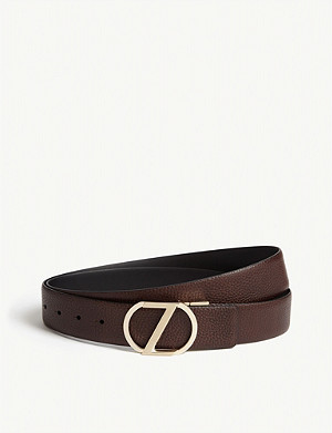 ERMENEGILDO ZEGNA Reversible textured leather belt