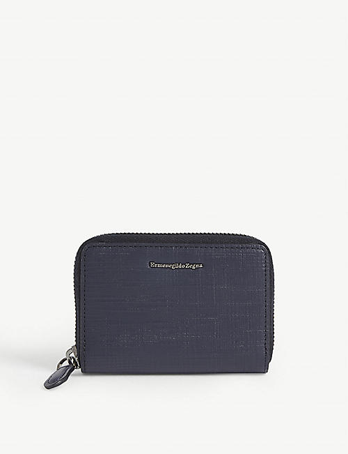 Z ZEGNA Logo leather zip wallet