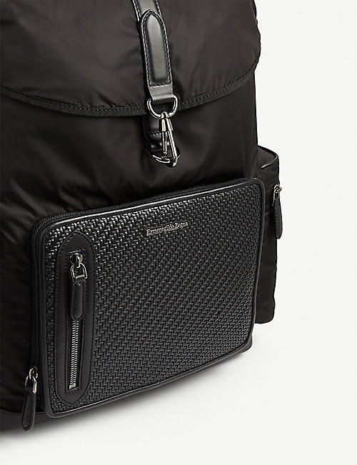 ERMENEGILDO ZEGNA Pelletessuta™ leather-trimmed nylon backpack
