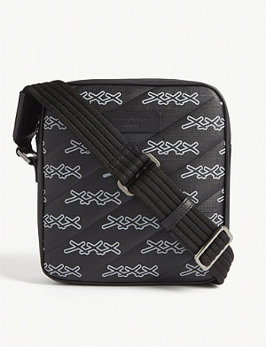 ERMENEGILDO ZEGNA Logo print canvas messenger bag