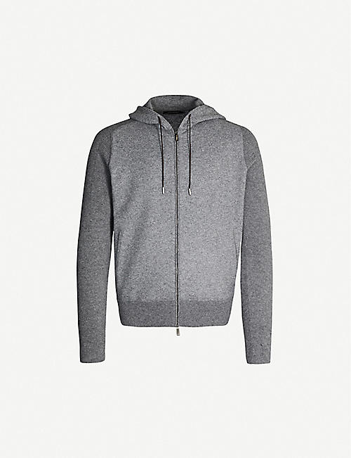 ERMENEGILDO ZEGNA Ribbed-panel drawstring wool-and-cashmere blend hoody