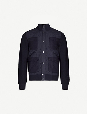 Z ZEGNA Funnel-neck wool-panelled woven jacket