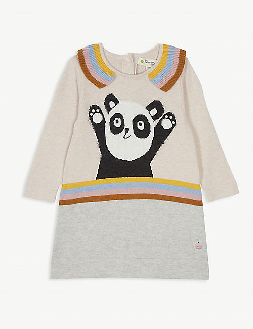 BONNIE MOB Panda knitted cotton dress 0-24 months