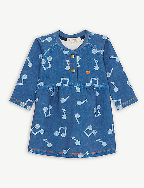 BONNIE MOB Musical notes print denim dress 0-24 months