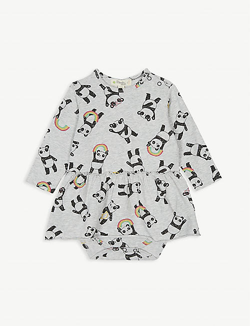 BONNIE MOB Penny panda print cotton-blend bodysuit with skirt 0-18 months