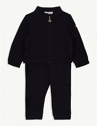 MONCLER: Stretch-cotton tracksuit set 3 months-3 years