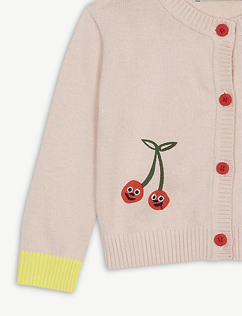 STELLA MCCARTNEY Cherry print knitted cotton cardigan 6 months - 3 years