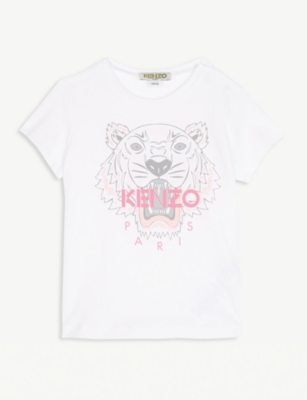 KENZO Striped coStriped collar cotton polo shirt 6-18 months