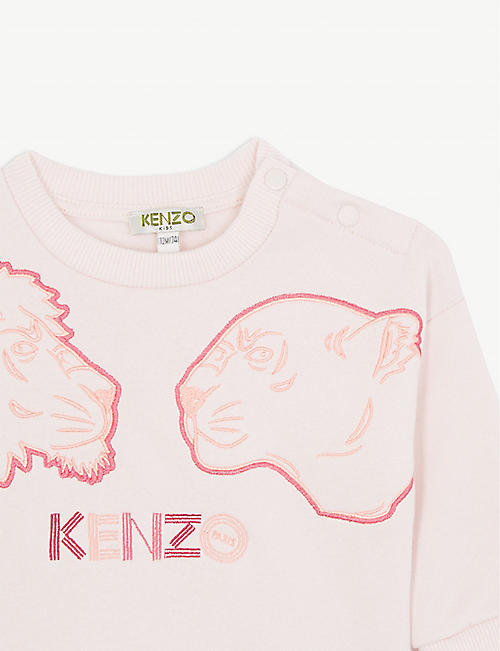 KENZO Lion and lioness cotton-blend sweater 6-36 months