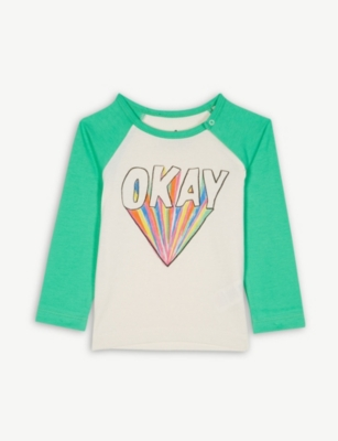 NOE & ZOE Okay graphic cotton long sleeve top 0-12 months