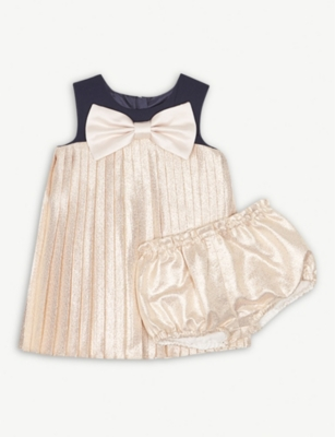 HUCKLEBONES Pleated metallic crepe dress and bloomers 3-36 months