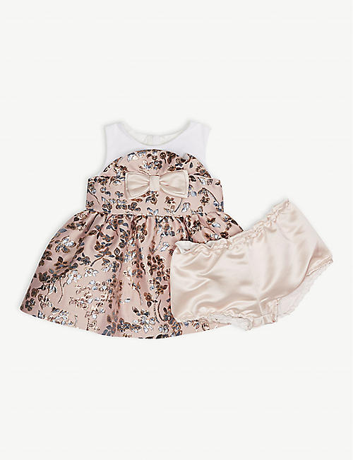 HUCKLEBONES Metallic floral bodice dress and bloomers 3-18 months