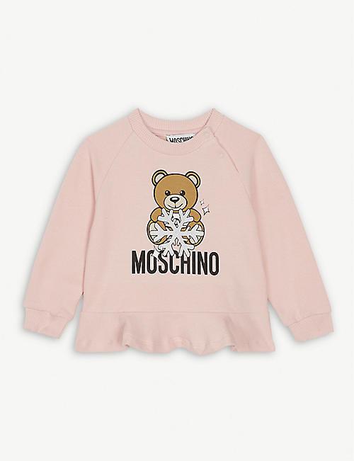 04476875f MOSCHINO Snowflake teddy cotton-blend sweatshirt 3-36 months