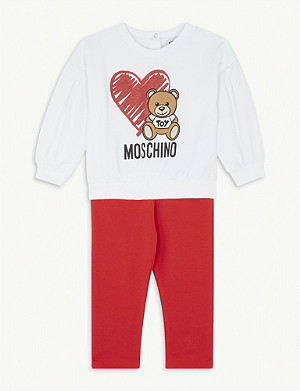 MOSCHINO Teddy-print stretch-cotton jumper and trousers set 3-36 months