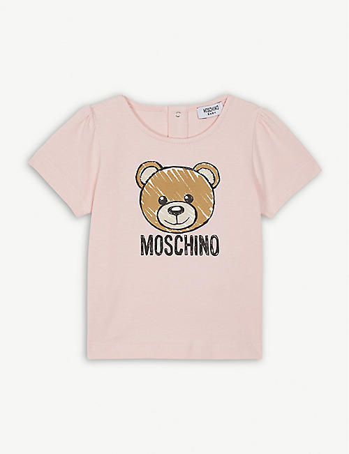 a1e66e522ab1 MOSCHINO Teddy bear logo cotton-blend T-shirt 6-36 months