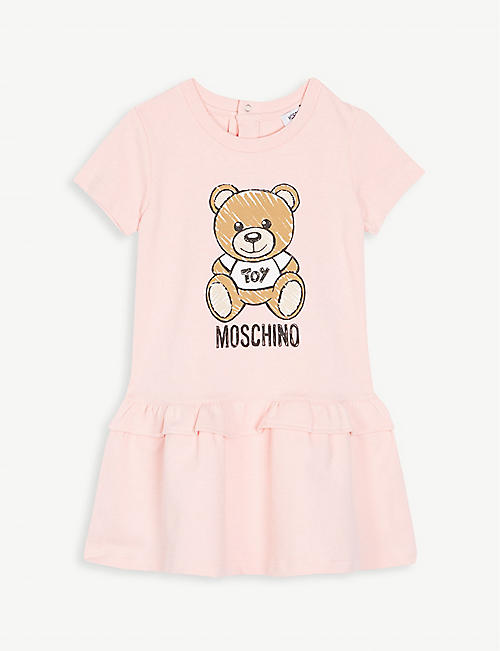 2242e0e682c8 MOSCHINO Logo cotton-blend dress 6-36 months