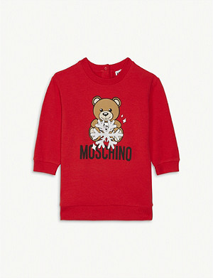 MOSCHINO Snowflake teddy cotton-blend dress 3-36 months