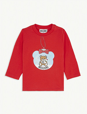 MOSCHINO Teddy bauble-print stretch-cotton T-shirt 3-36 months