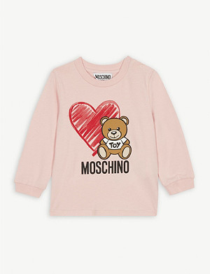 MOSCHINO Bear and heart cotton sweatshirt 3-36 months