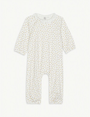 PETIT BATEAU Floral print cotton all-in-one 0-18 months