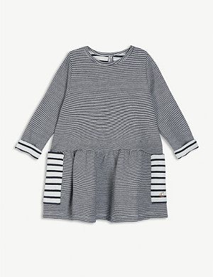 PETIT BATEAU Striped long-sleeved cotton-blend dress 6-36 months